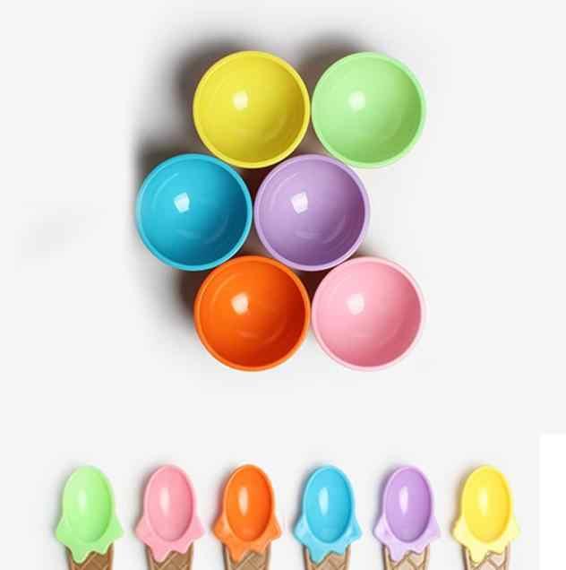 1 قطعة الاطفال بولات آيس كريم الآيس كريم كأس الأزواج السلطانية الهدايا الحلوى الآيس كريم السلطانية ملعقة أدوات مائدة للأطفال Copo De Sorvete