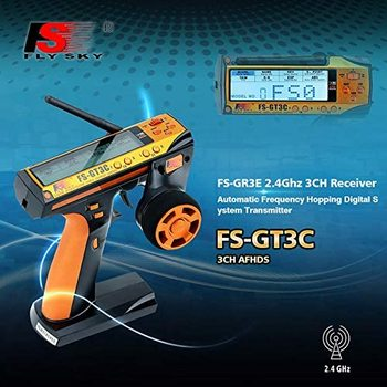 FlySky GT3C FS-GT3C 2.4GHz 3-Channel Transmitter with GR3E Receiver 2 Batteries For RC Cars Boat 1