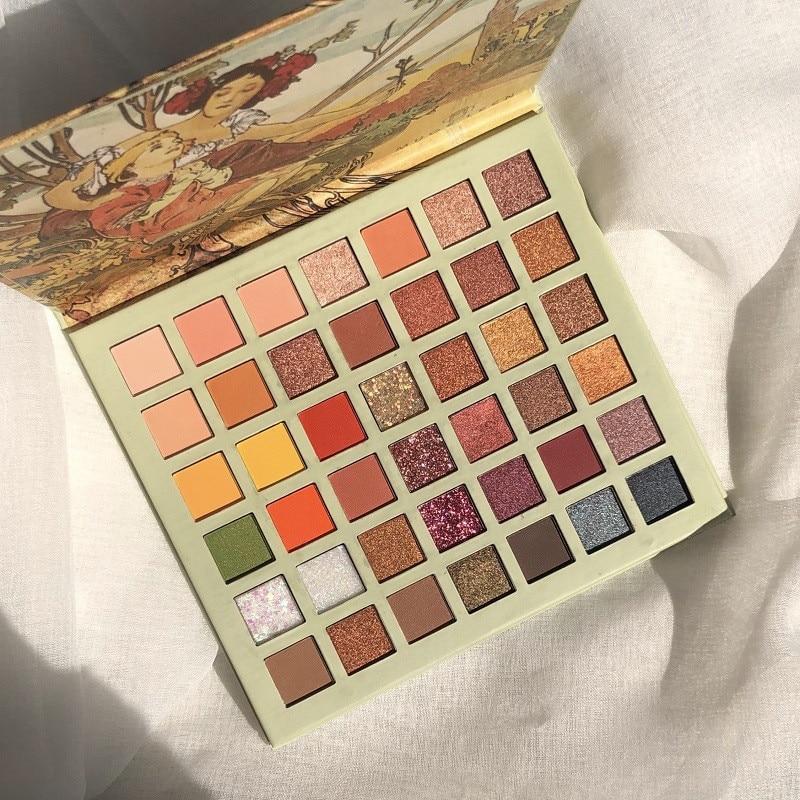 42 цвета, палитра теней для век с масляной краской, блестящие мерцающие тени для век, матовая палитра теней для век, косметический макияж