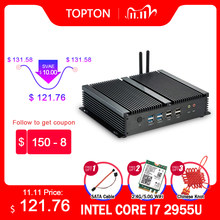 Topton G serisi endüstriyel fansız Mini PC Win10 Intel i7 i5 i3 2955U 2 * Intel lan 6 * COM USB mikro bilgisayar Linux 4G WiFi HDMI