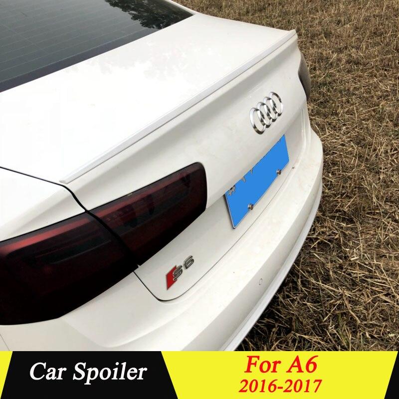 Pour Audi A6 A6L 2016 2017 aileron de coffre arrière de haute qualité en plastique ABS apprêt couleur décoration d'aile de queue de voiture pour Audi A6