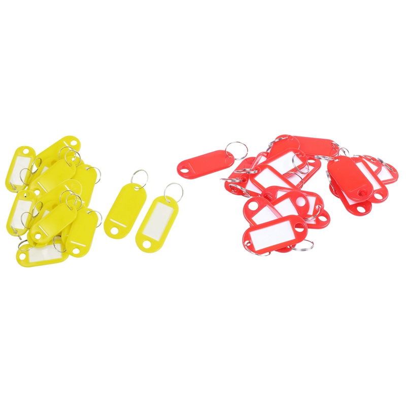 40Pcs Key ID Label Tags Split Ring Name Card Labels Keyring Keychain, 20 Pcs Red & 20 Pcs Yellow