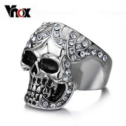 Vnox Hip Hop Skull Rings for Men Party King Man Ring Rock Punk Horrible Ghost Stainless Steel Metal Halloween Gifts