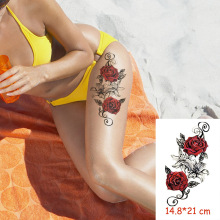 Waterproof Temporary Tattoo Sticker red rose flower tatoo water transfer fake tattoos flash tatto Woman Man lady 14.8*21 cm waterproof temporary tattoo sticker 10 5 6 cm dragon tattoo water transfer fake tattoo flash tattoos for men women 422