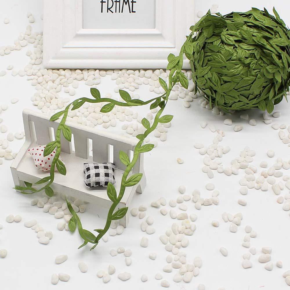 20 Meter Silk Leaf-Shaped Handmake Artificial Green Leaves Craft Fake Flower For Wedding Decoration DIY Wreath Gift Scrapbooking