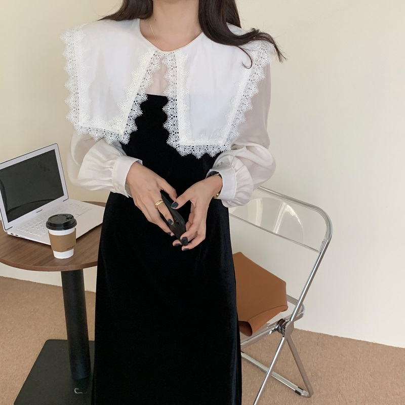 Hf61eb090497d4d9baaf1a0d73a930e4bo - Autumn / Winter Puritan Lace Collar Long Sleeves Velvet Patchwork Midi Dress