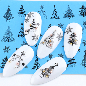 Lace Design Water Nail Stickers Christmas Tree Snowman Star Deer Sliders for Nails Manicure Winter Decorations LYSTZ1082-1097