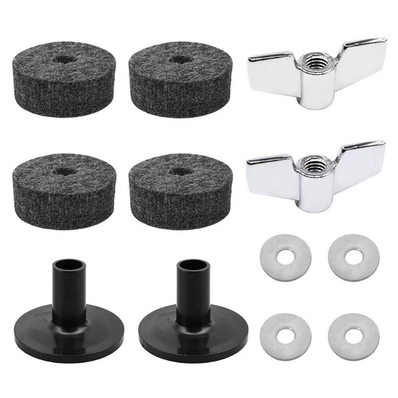 12pcs Drum Set Felt Pad Washers Sleeves Wing Nuts Drums Replacement Parts