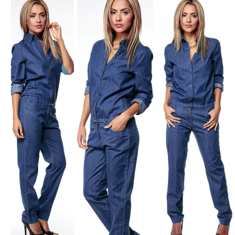 Retro Women Denim Casual Jumpsuit Romper Trousers Cargo Pants Casual Button Long Sleeve Tops Fashion Women Jeans Long Trousers