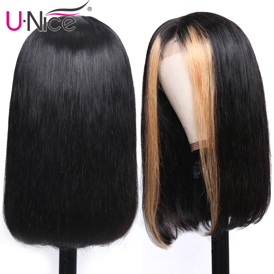 """Image 3 - Unice Hair 13x4 Highlight Lace Front Human Hair Wigs 8 24"""" Brazilian straight Hair Wigs Remy Human Hair Wigs Half Up Half Down-in Lace Front Wigs from Hair Extensions & Wigs"""