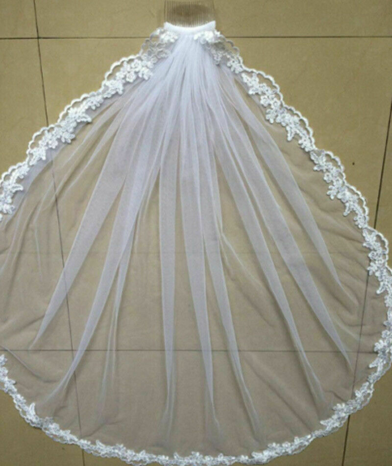 Hot Wedding Accessories Short Wedding Veil White Ivory One Layer Bridal Veil Appliques Lace Edge  Originally