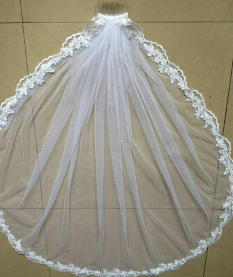Hot Wedding Accessories Short Wedding Veil White Ivory One Layer Bridal Veil Appliques Lace Edge  Originally