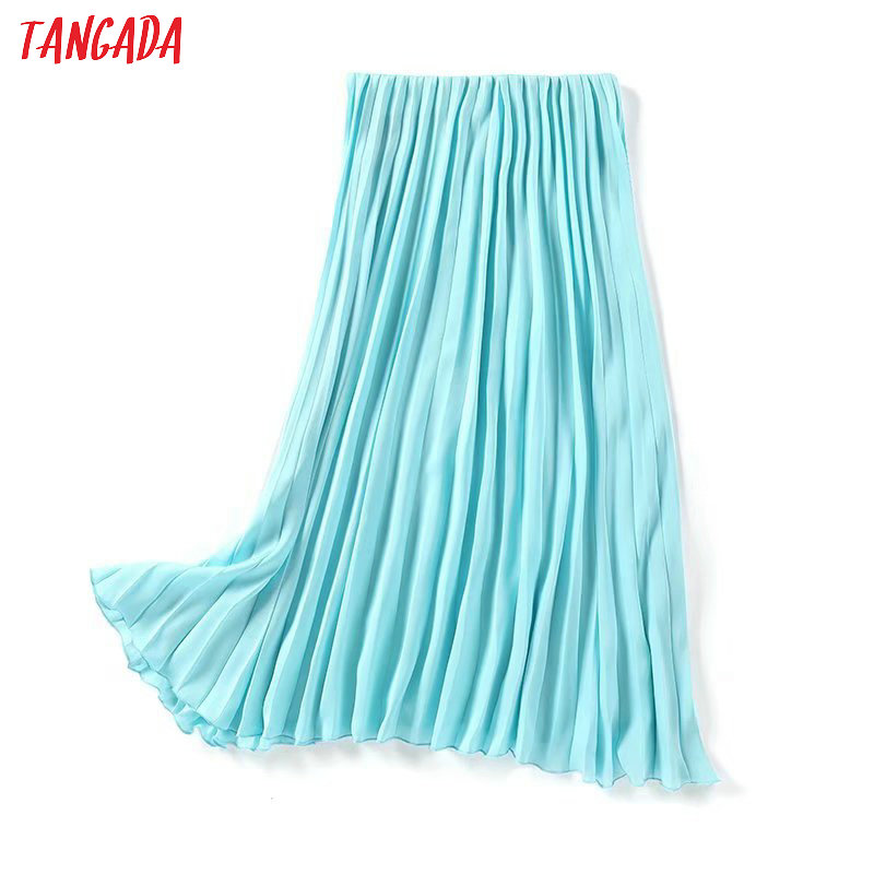 Tangada Women Candy Color Pleated Midi Skirt Faldas Mujer Vintage Waist Stretch Ladies Elegant Chic Mid Calf Skirts 1Y12