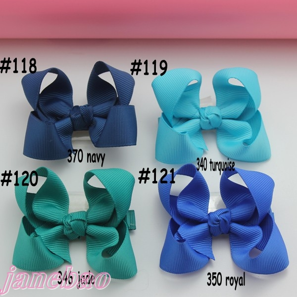 80 шт. смешанные цвета 3 ''модный Бутик банты для волос для малышей банты для волос шевронная лента банты для волос