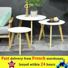 3 PCS Wooden Round Magazine Shelf Small Tea Table Office Coffee End Table Bedroom Living Room Furniture Round Coffee Table HWC
