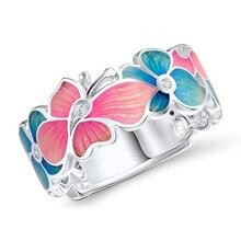 Модное кольцо с узором в виде цветов и бабочек, кольцо на палец розового и голубого цвета для женщин, свадебные, вечерние украшения, аксессуары в подарок