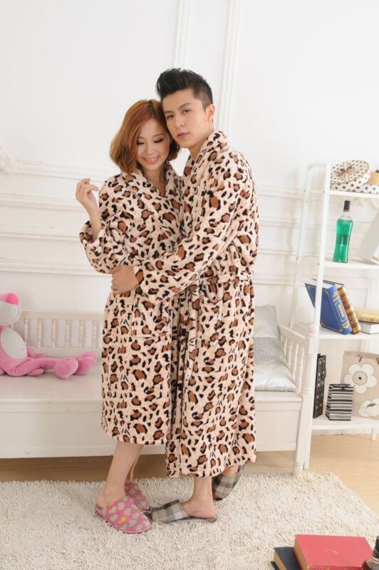 Leopard Print Flannel Sleep Robe Long Sleeve Bathrobe For Men Women Couples