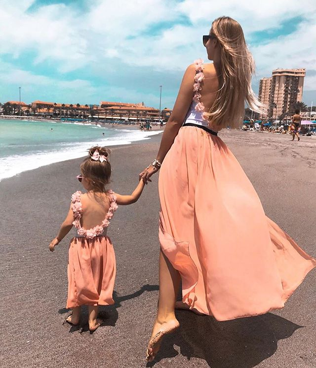 Fashion Women Girls Summer 2PCS Backless Floral T-shirt +Tulle Skirt Parent-child Leisure Flower Ball Gown Skirts Set Outfits