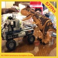 In Stock Carnotaurus Gyrosphere Escape 10926 Jurassic World Series 577PCSJurassic Park Building Blocks Model Children Toys 75929