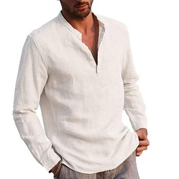 Men' s Shirt Cotton linen Solid Color Stand Collar Long Sleeve Smart Casual Blouse Plus Size S/M/L/XL/XXL