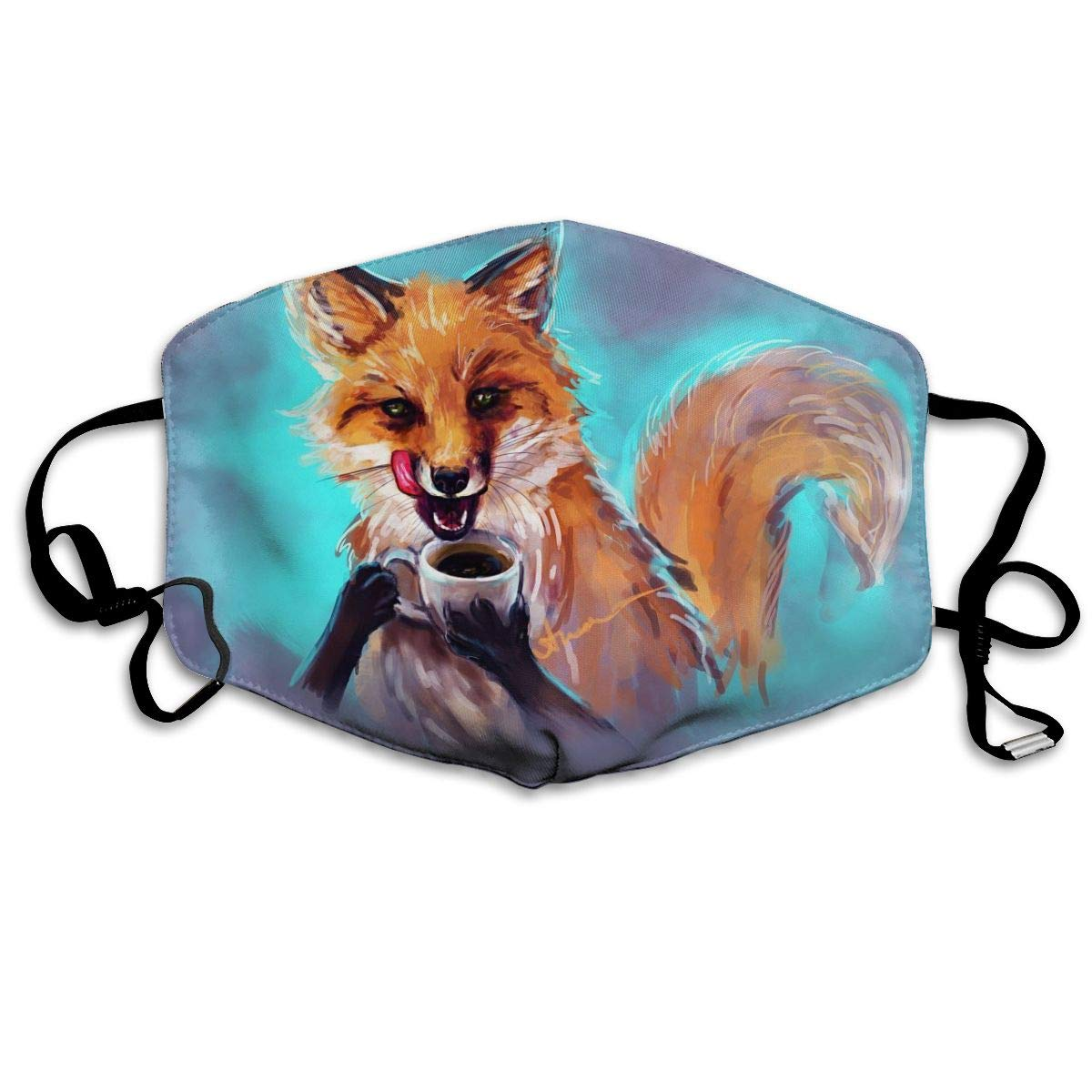 Mouth Mask For Daily Dress Up, Fox With Coffee Anti-dust Mouth-Muffle, Washable Reusable Holiday Half Face Masks For Mens And