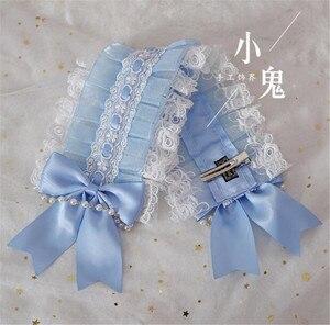 Image 5 - Giapponese Dolce Lolita Retro KC Fascia Femminile Lace Trim Bowknot Copricapi Cosplay Accessori Della Forcella B445