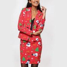 Осенне-зимний женский костюм с юбкой, Рождественский жакет с принтом, маленький костюм, Модный комплект, Женский блейзер, юбка, комплект из 2 предметов, юбка, куртки