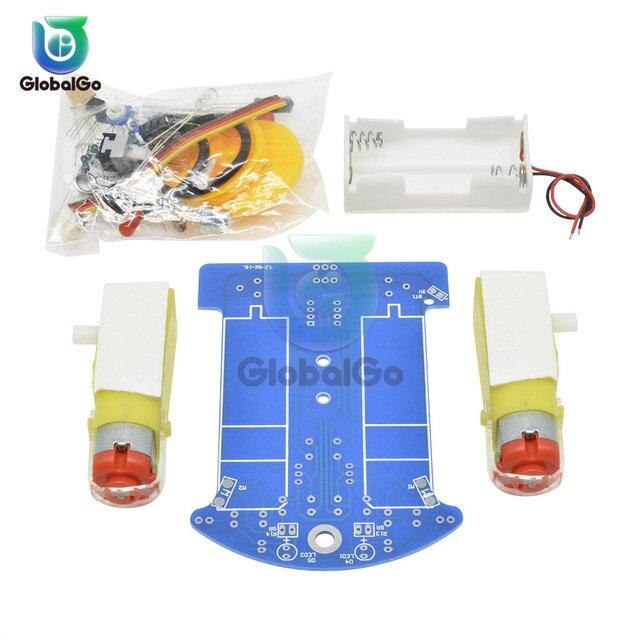Kit de D2 1 de coche inteligente TT, Kit DIY electrónico de Motor, patrulla inteligente, piezas de automóvil para bebé