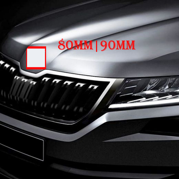 цена на 80mm 90m Car Styling Middle Front Grille Rear Trunk Emblem Replacement Logo Sticker for Skoda Octavia Superb Fabia Rapid Kodiaq