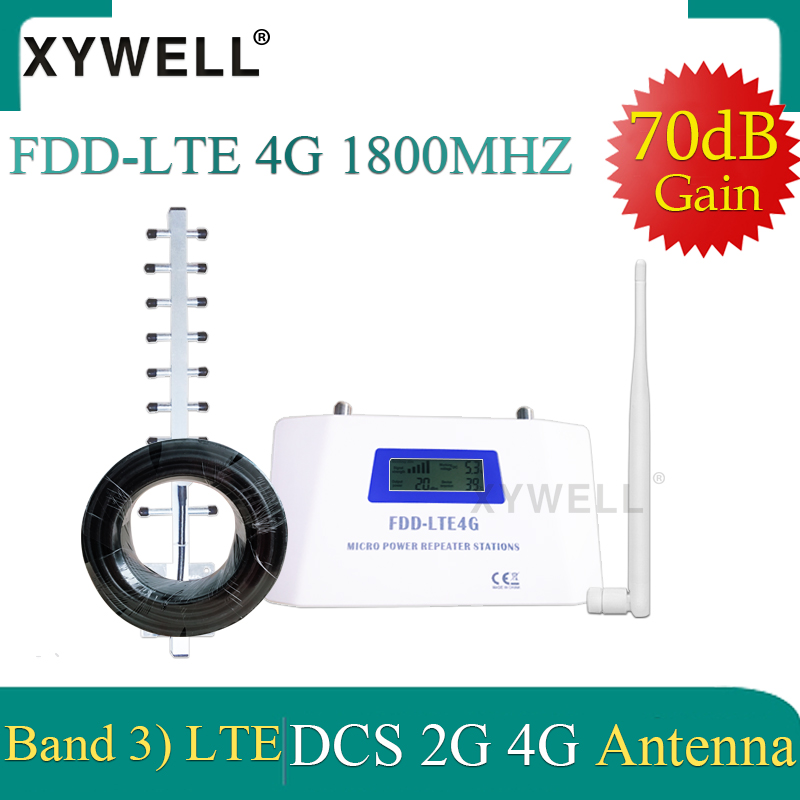 New!!FDD 4G Cellular Signal Repeater GSM 1800 MHz Band 3 LCD Display 70dB Gain 4G DCS LTE 1800 Mobile Phone Booster 4G Amplifier