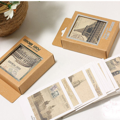 Message Card Retro Mini Tower World View Greeting Card Postcard Birthday Gift Card Set Message Card Letter Envelope Gift Card
