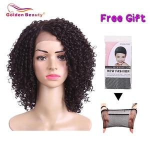 Image 4 - 14 אינץ קצר שיער קינקי קרלי סינטטי פאת תחרה מול פאה אפריקאי אמריקאי פאות עבור נשים שחורות זהב יופי