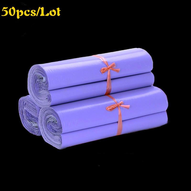 Sacs de courrier violet de 50 pièces | Emballage de courrier, emballage de courrier Poly plastique auto-adhésif, enveloppe de livraison livraison en vrac, 38x52cm