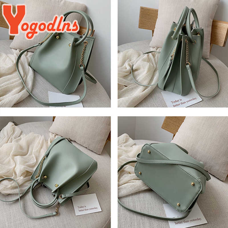 Yogodlns moda feminina bolsas de grande capacidade de alça de couro do plutônio balde crossbody saco casual mensageiro bolsa de ombro feminino