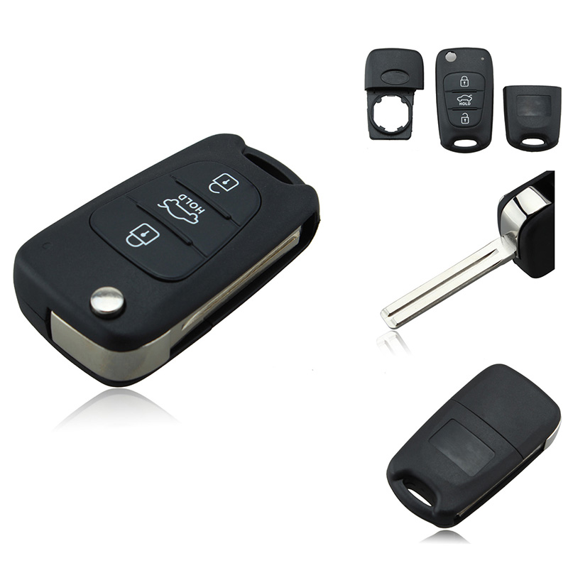 New 3 Button Flip Folding Remote Key Fob Shell Case Replacement For KIA Rondo Sportage Soul Rio Car Key Cover