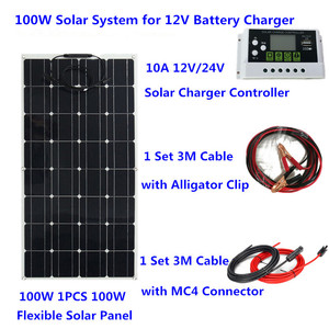Image 2 - 200W Flexible Solar Panel System 20A Solar Controller 3M solar cable 12V 24V Solar Battery charger for camping/home roof /car