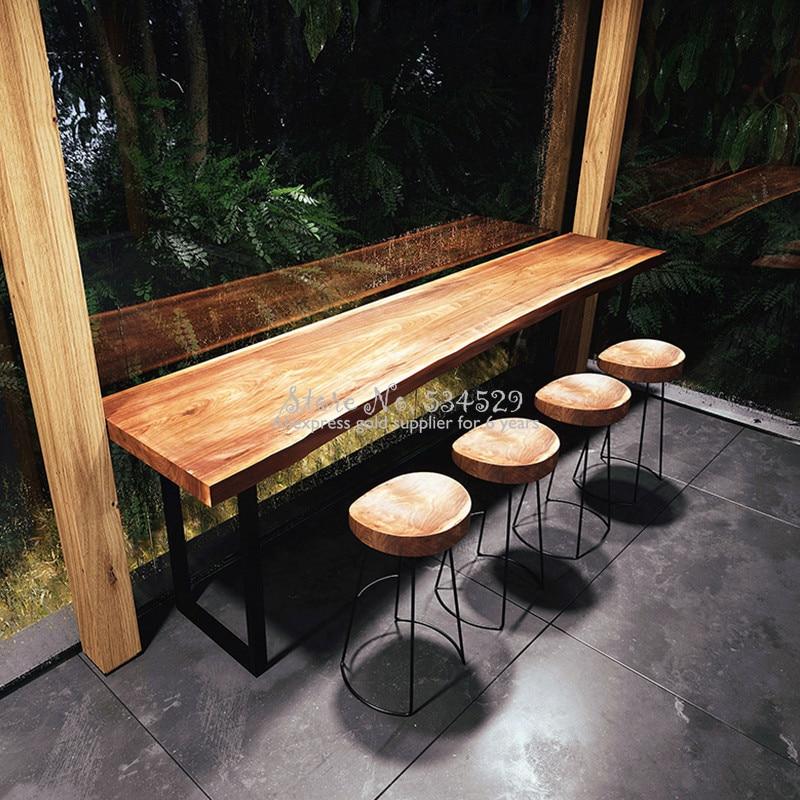 21%Modern Minimalist Bar Stool Solid Wood European Home Bar Creative Coffee Casual Dining Stool Nordic Wrought Iron High Chair