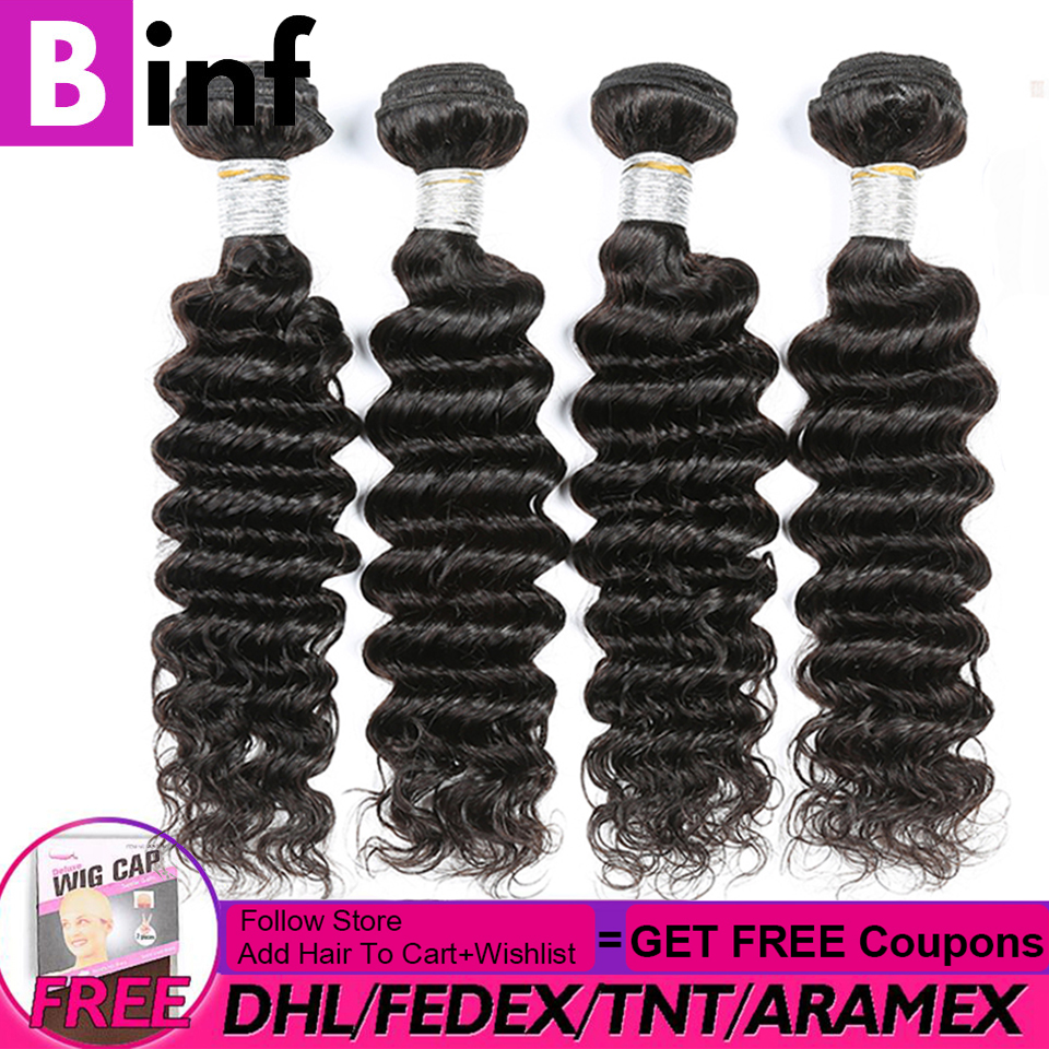 Indian Deep Wave Hair Wig Bundles Human Hair Extensions 3/4 Bundles Deals Non Remy Hair Weave Bundles 8-28 Inches Color 1b
