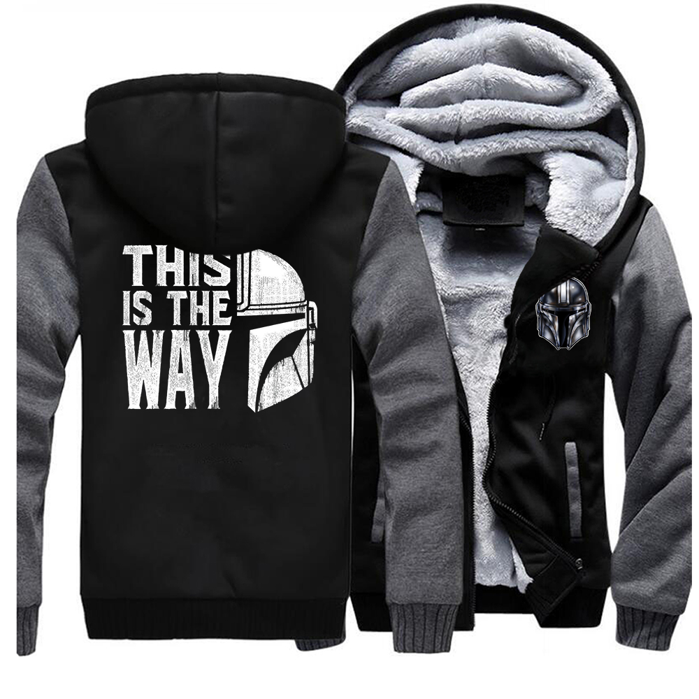 TV Show Mandalorian Way Men Hoodies Winter Thick This Is The Way Coat Star Wars Hoodies Sweatshirts Fleece Men Raglan Hoodies