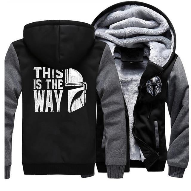 TV Show Mandalorian Way Men Hoodies Winter Thick This Is The Way Coat Star Wars Hoodies Sweatshirts Fleece Men Raglan Hoodies