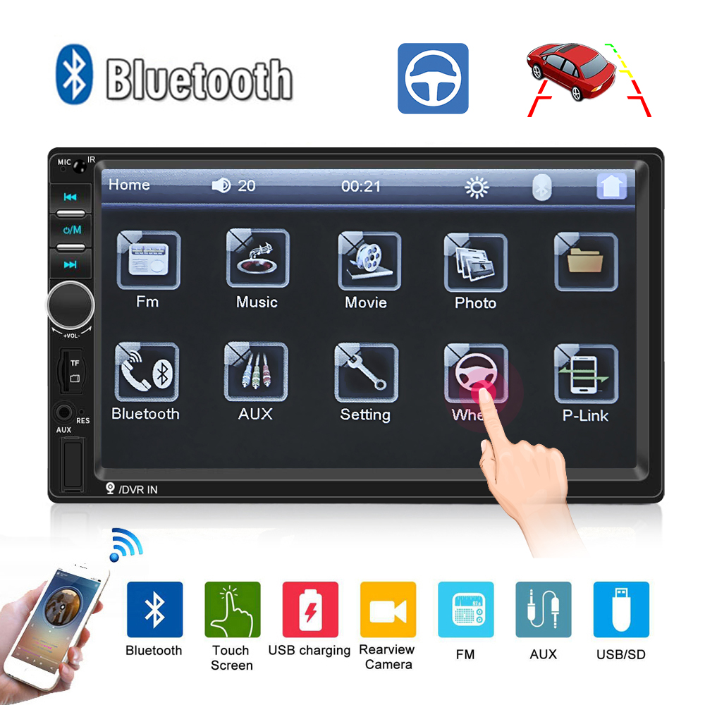 Autoradio <font><b>2Din</b></font> Universal <font><b>Car</b></font> <font><b>Radio</b></font> 7 Inch Touch Screen Clear Stereo MP5 Player USB FM Bluetooth Audio with Rear View Camera image