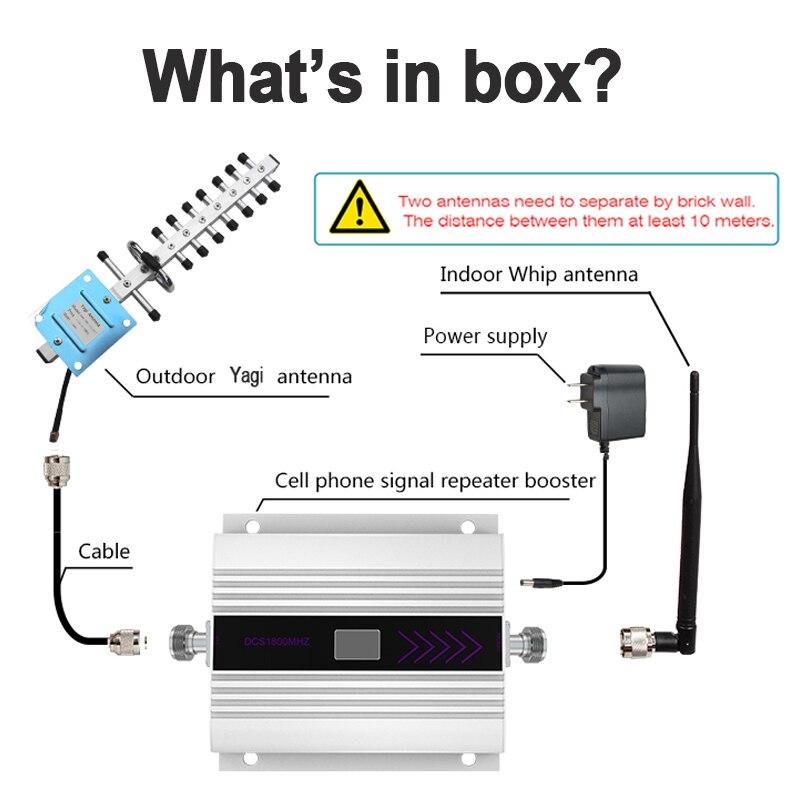 LTE 4G DCS 1800MHZ amplificateur de Signal cellulaire affichage LCD répéteur de Signal de téléphone portable répéteur Yagi + fouet antenne câble Coaxial/ - 6