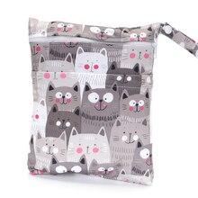 Double-deck Wet Bag Waterproof Fabric Bag Stroller Reusable Bag Baby Printed  Nappy Mask Cloth Bag Travel Diaper Bag Menstrual