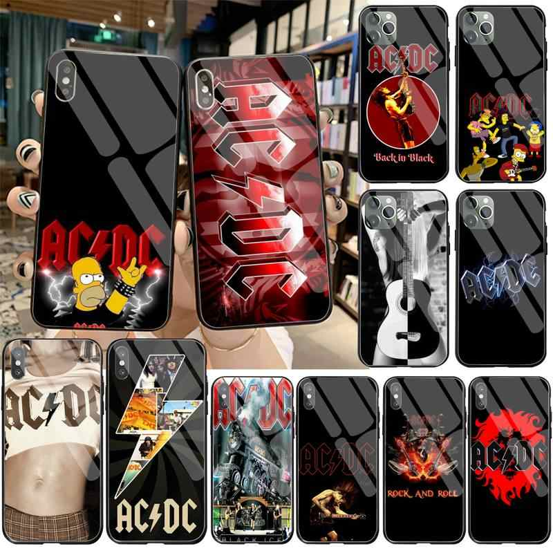 HUAGETOP AC DC poster music Painted Phone Case Tempered Glass For iPhone 11 Pro XR XS MAX 8 X 7 6S 6 Plus SE 2020 case