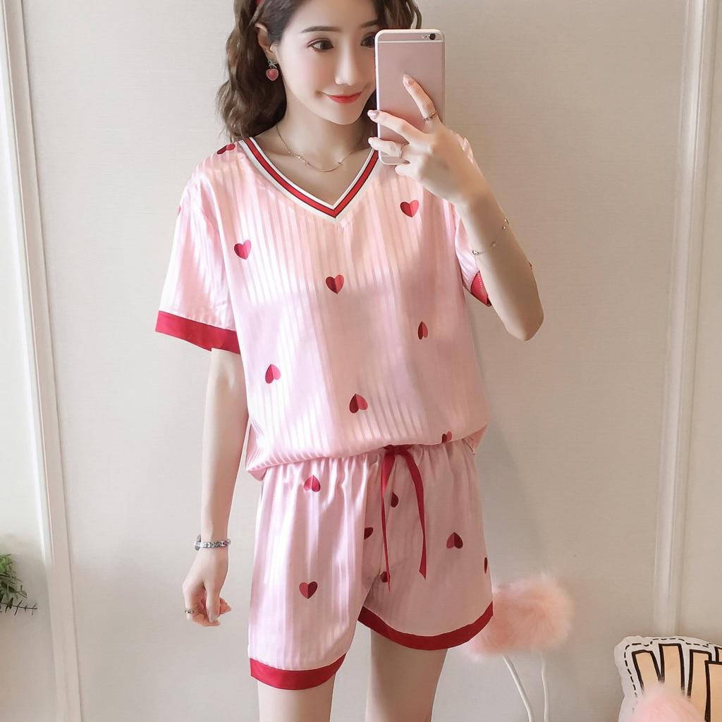 New Women Sleepwear Pajama Set Sexy Satin Strap Fashion Homewear Heart Print Silk Nightwear Femme Spaghetti Strap Pajama Set@50
