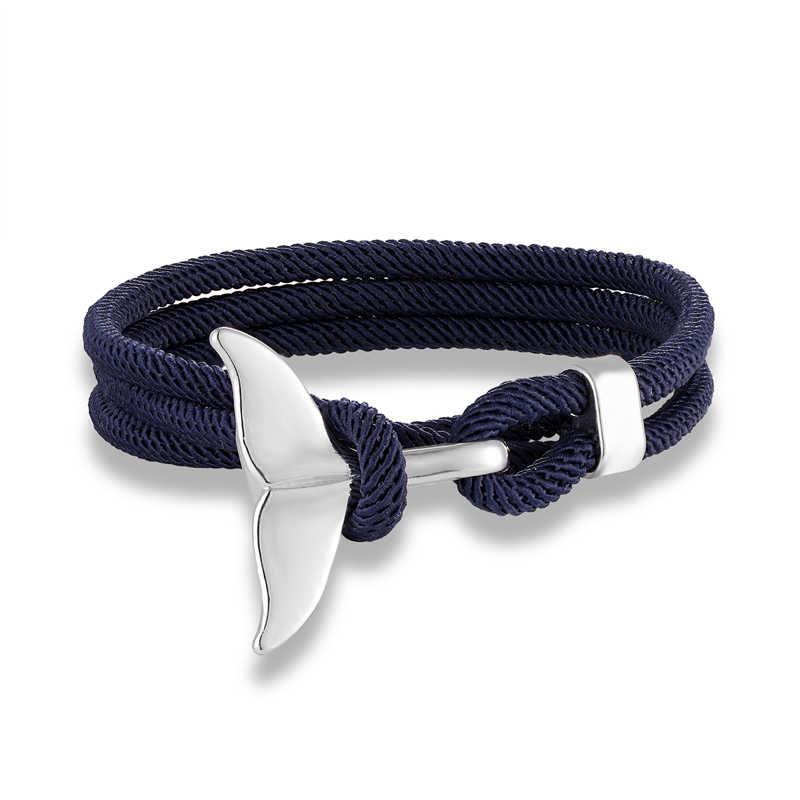 Urok ogon wieloryba kotwica bransoletka mężczyźni kobiety kolorowe przeżycia liny bransoletki dla par homme femme szczęście kochanka biżuteria do uprawiania sportów wodnych