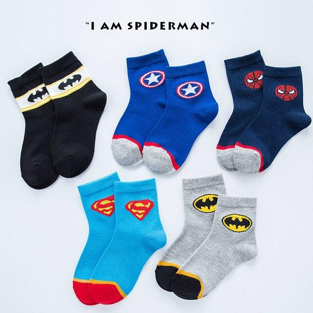 5 Pairs Boys Baby zimowe skarpetki superbohater Cartoon Marvel Superman Spiderman Batman Iron Man dzieci jesień bawełna oddychające skarpety