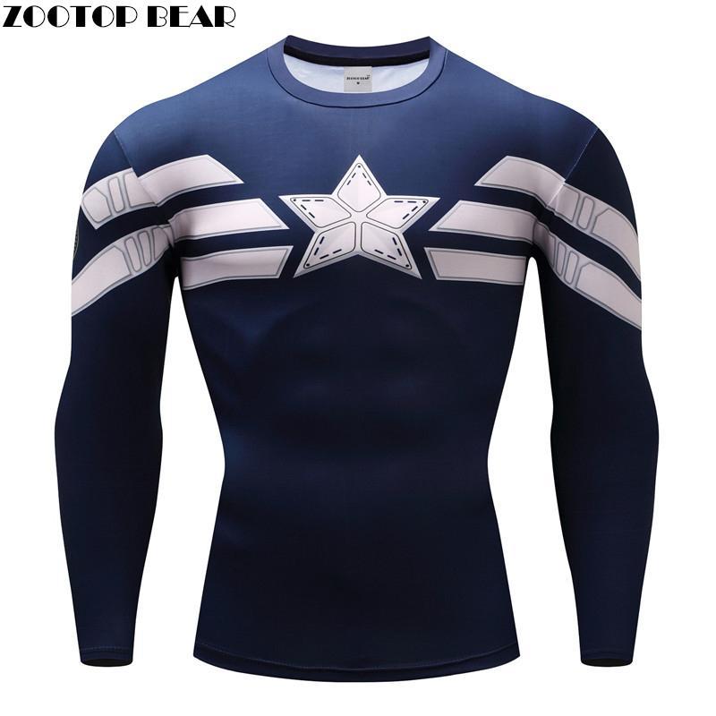 Капитан Америка футболки Компрессионные Мужские футболки для фитнеса и бодибилдинга с 3D принтом Забавные футболки с длинным рукавом Camiseta