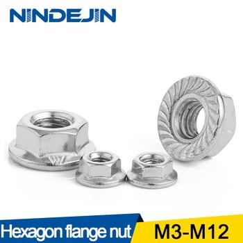 NINDEJIN/10/25/50/55 Uds hexagonal de acero inoxidable tuerca con reborde M3 M4 M5 M6 M8 M10 M12 Chapado en Zinc de acero al carbono tuerca con reborde DIN6923 1
