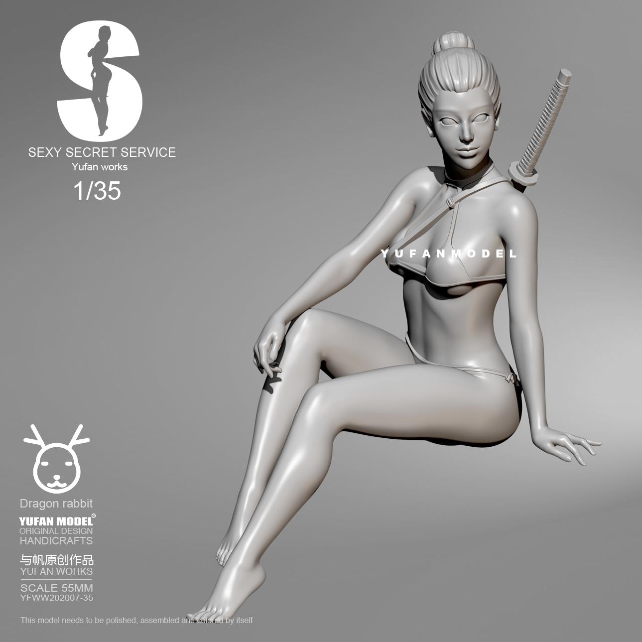1/35  Resin Kits YuFan Model Sexy Agent  Girl Self-assembled YFWW35-201907